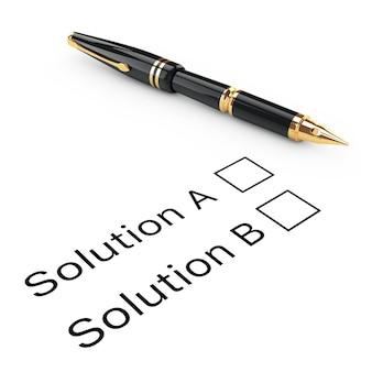 Koncepcja badania. lista kontrolna rozwiązania a lub b ze złotym wiecznym piórem do pisania na białym tle. renderowanie 3d