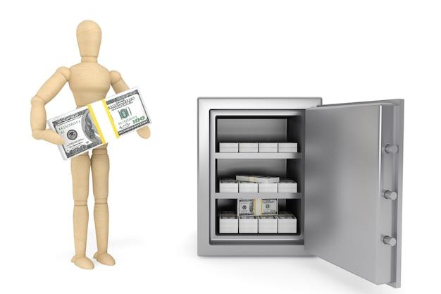 Koncepcja bankowości. drewniany manekin i sejf bankowy na białym tle