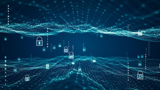 Koncepcja bezpieczeństwa cybernetycznego. ikona kłódki na tle danych sieci cyfrowej. streszczenie technologii internetu bezprzewodowego. ochrona baz danych i bezpieczne przesyłanie informacji w sieciach big data.
