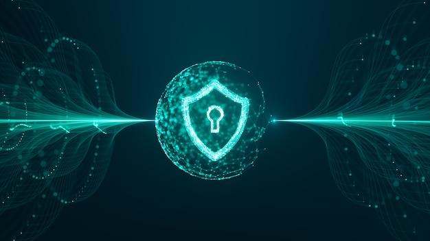 Koncepcja bezpieczeństwa cybernetycznego. tarcza z ikoną dziurki od klucza na danych cyfrowych. ilustruje ideę cyberbezpieczeństwa lub prywatności informacji. niebieski streszczenie hi speed technologia internetowa.