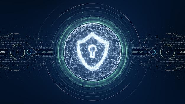 Koncepcja bezpieczeństwa cybernetycznego. tarcza z ikoną dziurki od klucza na tle danych cyfrowych. ilustruje ideę bezpieczeństwa danych cybernetycznych lub prywatności informacji. niebieski streszczenie hi speed internet technologii.