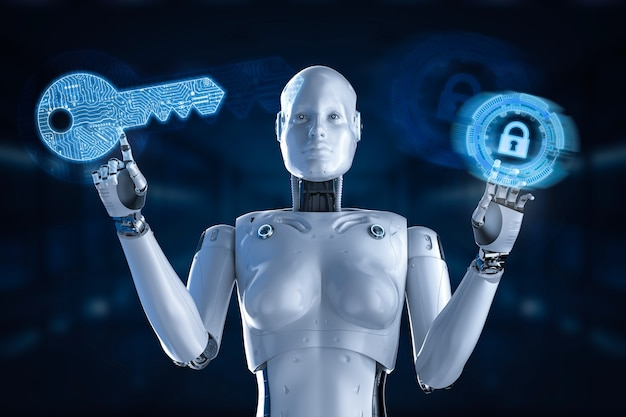 Koncepcja bezpieczeństwa cybernetycznego z renderowaniem 3d kobiecego cyborga lub robota z blokadą klawiatury
