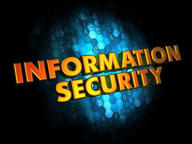 Koncepcja bezpieczeństwa informacji - złoty kolor tekstu na ciemnoniebieskim cyfrowym.
