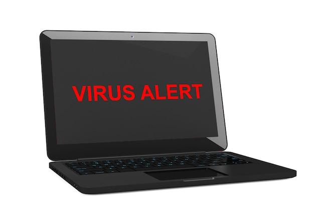 Koncepcja bezpieczeństwa mobilnego. laptop zainfekowany wirusem na białym tle. renderowanie 3d