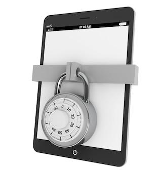 Koncepcja bezpieczeństwa mobilnego. tablet pc z blokadą na białym tle