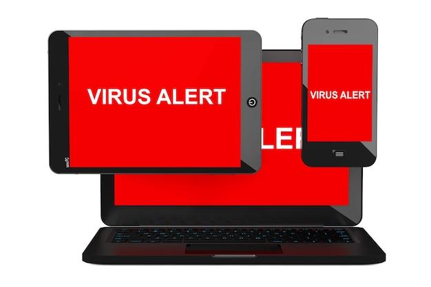 Koncepcja bezpieczeństwa mobilnego. zainfekowany wirusem telefon komórkowy, komputer typu tablet i laptop na białym tle.