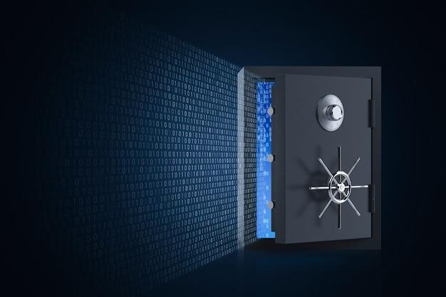 Koncepcja bezpieczeństwa online z otwartymi drzwiami skarbca i kodem binarnym