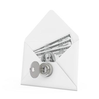 Koncepcja bezpieczeństwa. pieniądze w kopercie z kluczem i blokadą na białym tle. renderowanie 3d.