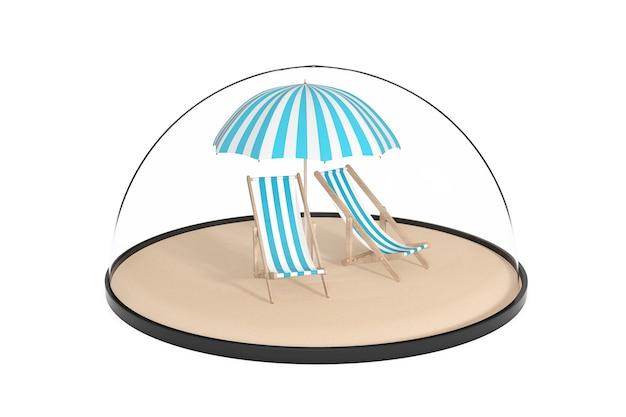 Koncepcja bezpieczeństwa podróży. dwa krzesła beach relax pool z parasolem pod szklaną kopułą dzwonową na białym tle. renderowanie 3d