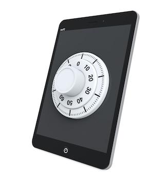 Koncepcja bezpieczeństwa. tablet pc z blokadą na białym tle