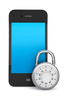 Koncepcja bezpieczeństwa telefonu. telefon komórkowy z blokadą na białym tle