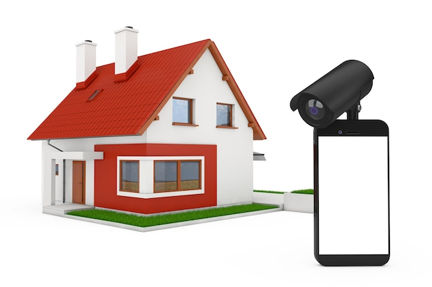 Koncepcja bezpieczeństwa w domu. telefon komórkowy z pustego ekranu i aparatu bezpieczeństwa przed budynkiem domku na białym tle. renderowanie 3d