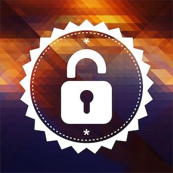 Koncepcja bezpieczeństwa z ikoną otwartej kłódki. projekt etykiety retro. hipster tło z trójkątów, efekt przepływu koloru.
