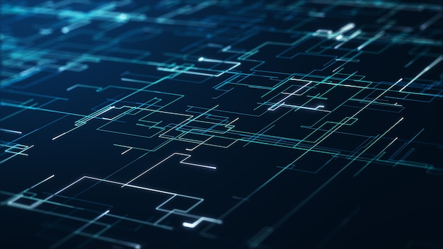 Koncepcja big data streszczenie technologii. grafika ruchu dla abstrakcyjnego centrum danych, przepływ danych. przesyłanie dużych zbiorów danych i przechowywanie łańcucha bloków, serwera, szybkiego internetu. renderowanie 3d.