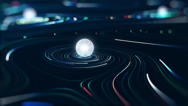 Koncepcja big data streszczenie technologii. grafika ruchu dla abstrakcyjnego centrum danych, przepływ danych.