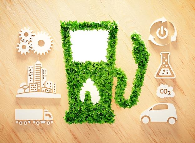 Koncepcja biopaliw na drewnianym tle. ilustracja 3d.