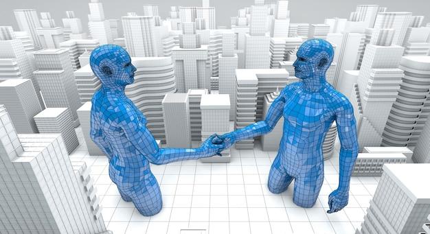 Koncepcja biznesowa fuzji i przejęć, dołącz do renderingu 3d firmy