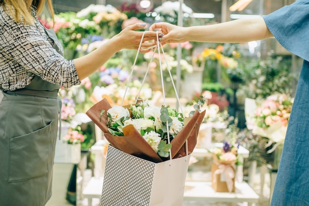 Koncepcja biznesowa kwiaciarni, kwiaciarnia i klient