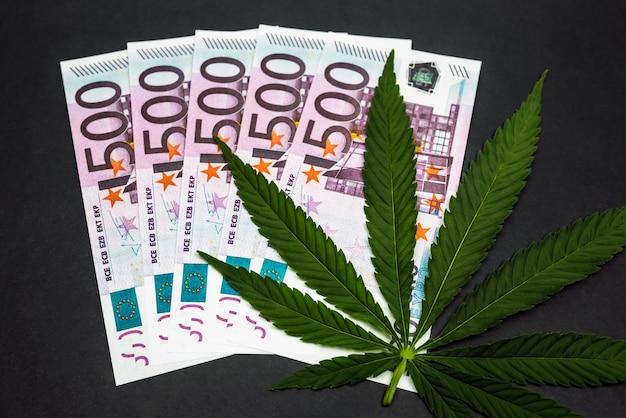 Koncepcja biznesowa marihuany. liść konopi i banknot euro. sprzedaż leków na marihuanę. przychody i zyski z uprawy marihuany medycznej.