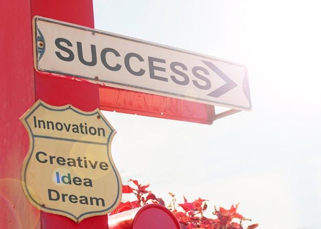 Koncepcja biznesowa starym znakiem ulicznym z sukcesem