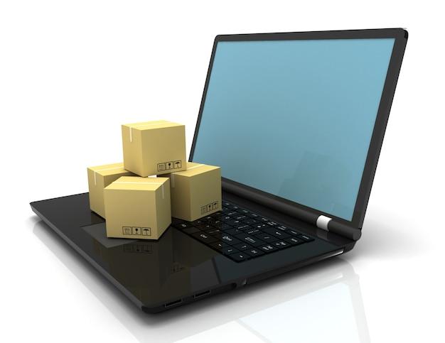 Koncepcja Biznesowa Technologii, Wysyłka: Pudełka Kartonowe Na Laptopie Premium Zdjęcia