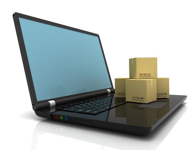 Koncepcja biznesowa technologii, wysyłka: pudełka kartonowe na laptopie