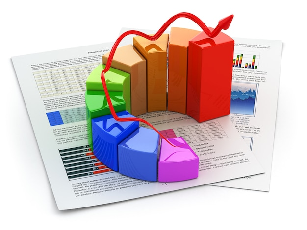 Koncepcja biznesowa wykres i biznesplan na białym tle na białym tle 3d