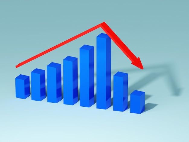 Koncepcja biznesu i upadłości. wykres bankructwa z recesją