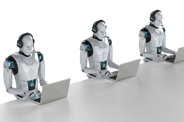 Koncepcja bota czatu z renderowaniem 3d humanoidalnego robota z zestawem słuchawkowym działa na notebooku komputerowym