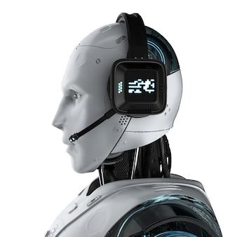 Koncepcja bota czatu z renderowaniem 3d humanoidalnego robota z zestawem słuchawkowym