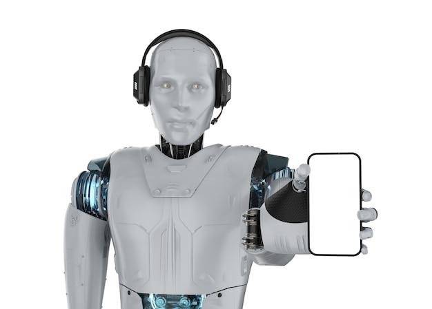 Koncepcja bota czatu z renderowaniem 3d humanoidalny robot z zestawem słuchawkowym trzymającym pusty ekran telefonu komórkowego