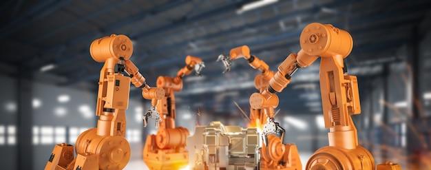 Koncepcja branży automatyzacji z linią montażową robotów renderujących 3d w fabryce