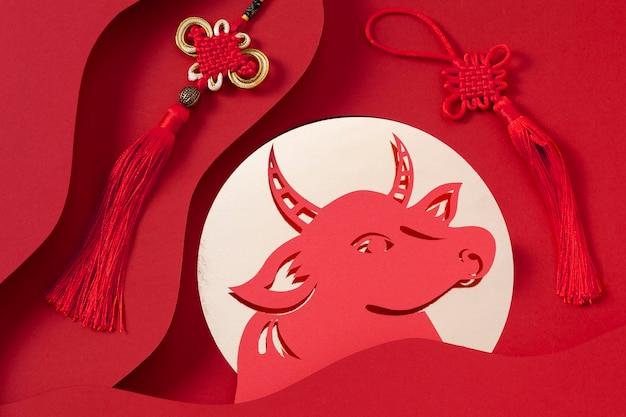 Koncepcja chińskiego nowego roku w stylu izometrycznym