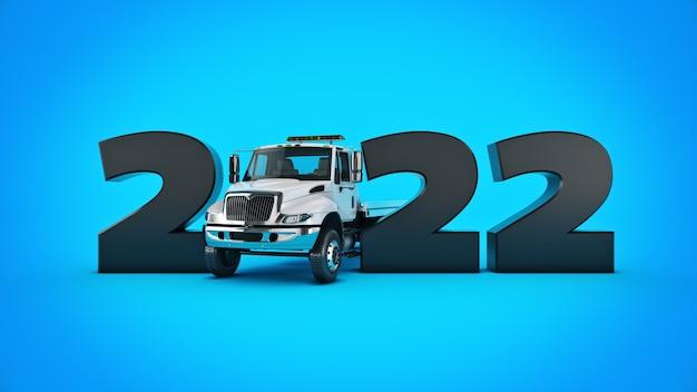 Koncepcja ciężarówki 2022 nowy rok znak renderowania 3d