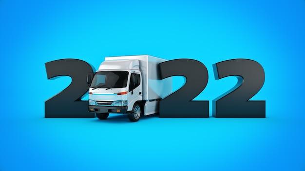 Koncepcja ciężarówki dostawczej 2022 znak nowego roku renderowanie 3d renderowanie 3d