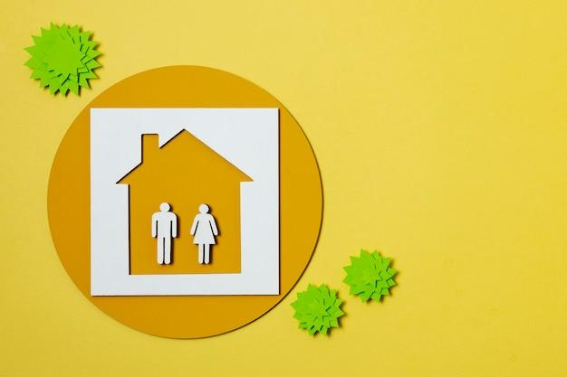 Koncepcja covid z ludźmi w domu