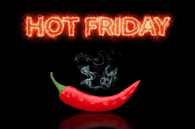 Koncepcja czarny piątek. hot friday zaloguj się w ogniu z red chili pepper na czarnym tle. renderowanie 3d