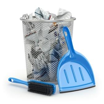 Koncepcja czyszczenia szufelka na śmieci lub szufelka i szczotka 3d