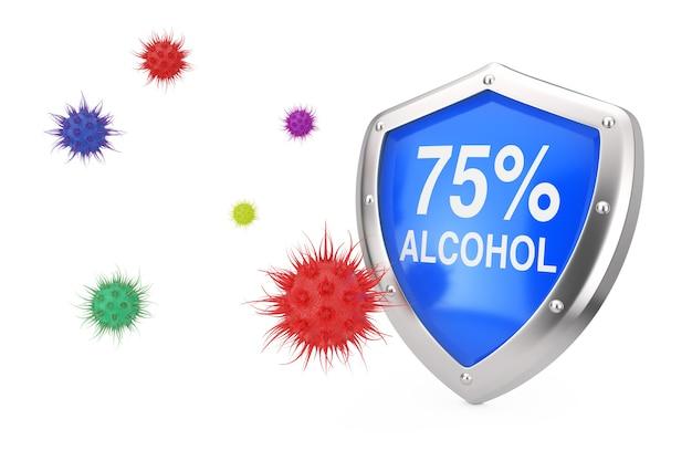 Koncepcja dezynfekcji przeciwwirusowej. 75% osłona dezynfektora alkoholowego chroniona przed wirusami lub bakteriami na białym tle. renderowanie 3d