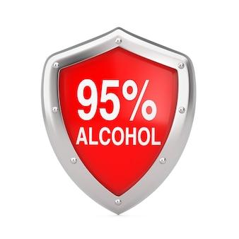 Koncepcja dezynfekcji przeciwwirusowej. 95% osłona dezynfektora alkoholowego chroniona przed wirusami lub bakteriami na białym tle. renderowanie 3d