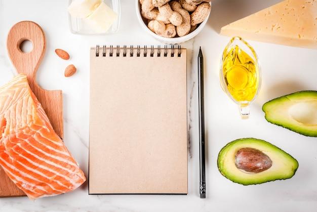 Koncepcja diety ketogenicznej o niskiej zawartości węglowodanów. zdrowa, zrównoważona żywność z wysoką zawartością zdrowych tłuszczów