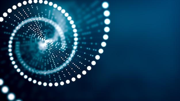 Koncepcja dna. spirala helisy cząsteczki dna na niebiesko. nauki medyczne, biotechnologia genetyczna, biologia chemiczna, komórka genowa. tło nauk medycznych.