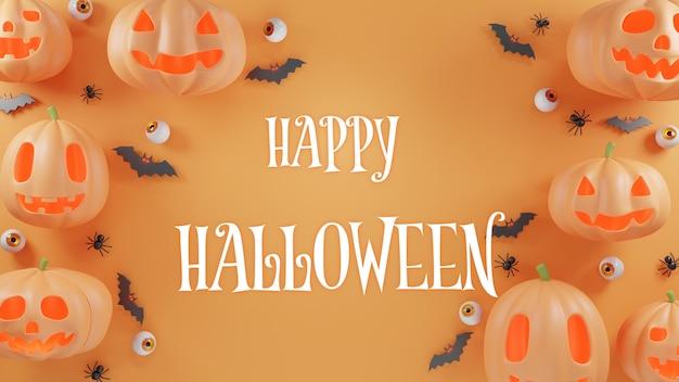 Koncepcja dnia halloween ramka uroczy duch dyni z lekkim pajęczym nietoperzem i renderowaniem 3d gałki ocznej