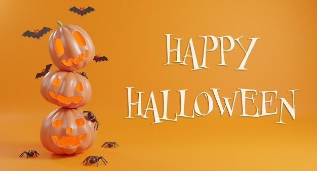 Koncepcja dnia halloween śliczny nietoperz z dyni i pająk renderowania 3d