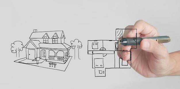 Koncepcja domu rysunkowego wymarzonego domu narysowanego przez projektanta