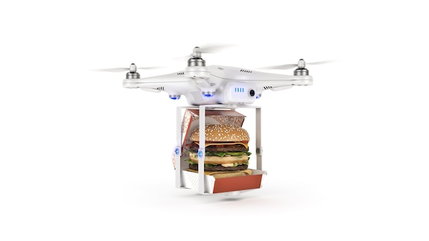 Koncepcja dostawy drone burger quadcopter transportujący burgera renderowania 3d
