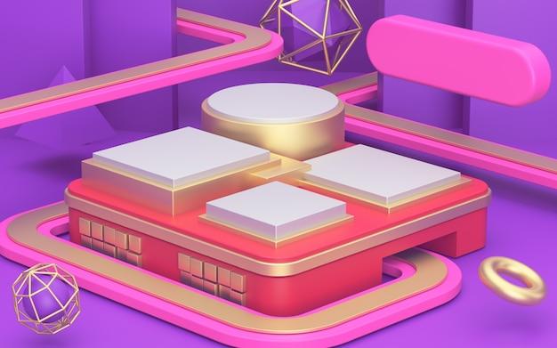 Koncepcja drogi w supermarkecie. streszczenie iluzji geometryczny minimalizm, złote witryny sklepowe i luksusowe podium