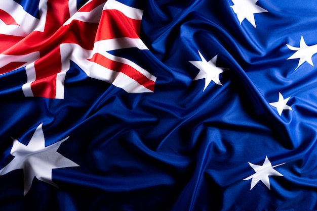 Koncepcja dzień australii. flaga australii na tle tablicy