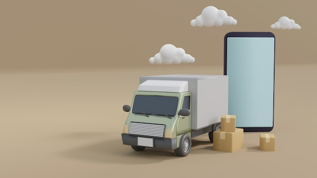 Koncepcja e-commerce, koncepcja usług dostawy. dostawa transportowa ciężarówką. ilustracja renderowania 3d.