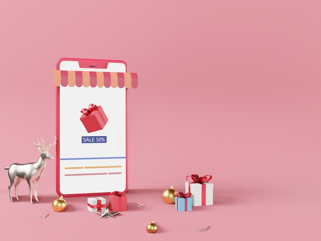 Koncepcja e-commerce, zakupy przez smartfon w różowym tle